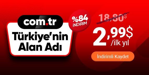Türkiye'nin Alan Adı | .COM.TR Domain 2,99$